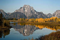 Fall morning at Mount Moran, Grand Teton National Park, Wyoming